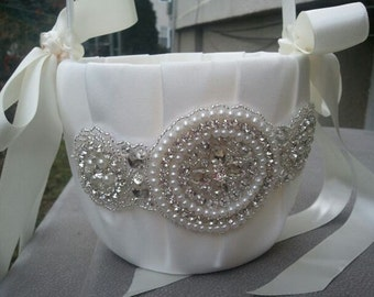 SALE - Wedding Flower Basket, Flower Girl Basket, Rhinestone/Pearl Flower Basket  - Style BK1028