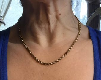 SALE Vintage Gold Rope Chain Gold Filled 18 inch Twisted Rope Choker Necklace