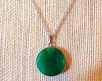 """Beautiful Green Jade Round Pendant Necklace - Sterling Silver 18"""" Chain - Natural Stone Necklace - Agate -  Versatile - Bridesmaid Gifts"""