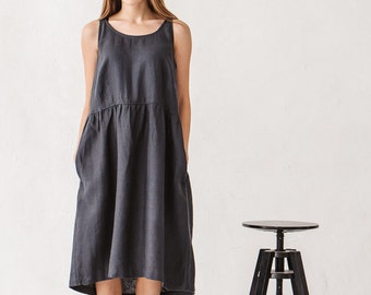 Linen dress, Graphite grey linen dress, Minimal linen dress, Linen tunic, Minimal linen tunic, Linen clothes, Loose dress / #8A Dana