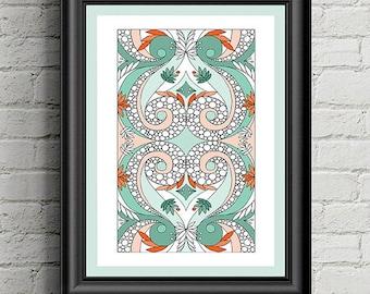 Colouring Page Circles & Swirls Pattern