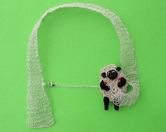 Knitting sheep necklace - knitted jewelry, silver wire necklace, sheep jewelry