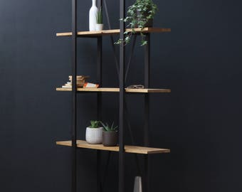 KONK! - Industrial, Modern, Oak/Steel - BOOKCASE [Bespoke sizes available!]