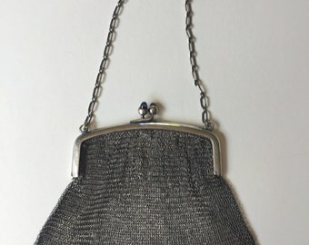 Sterling Silver Mesh Link Flapper Purse