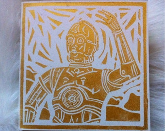 C3 PO Linocut Hand Printed on Recycled Card