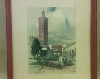 Antique artwork, The Medina Casablanca, original water color, signed A.F. Mettel