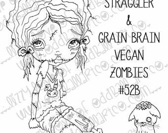 Digi Stamp SET OF 3 Digital Instant Download Big Eye Zombie Girl Image No. 52/52B/52C by Lizzy Love