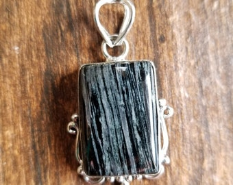 Mystery Stone Silver Plated Pendant