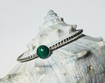 Sterling silver rope bracelet with malachite