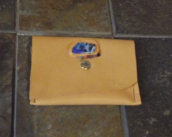 Handcrafted deerskin leather wallet with genuine Brazilian parrot feather stone and gemstones with snap closure