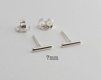 Very Tiny Bars, 7mm Silver Bar Stud Earrings, Tiny Bar Studs, Silver Studs, Handmade Studs, Bar Studs, Silver Stick, Line Earrings 7 x 1.3mm