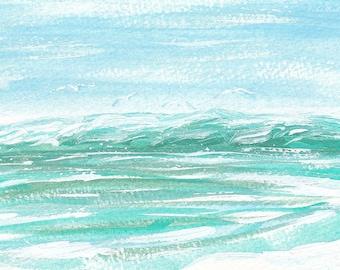 Coastal Art, Seagull Art, Beach Decor, Turquoise Art, Ocean Art, Bathroom Wall Art, Nursery Decor, Nursery Art, Aqua Home Decor, Living Room