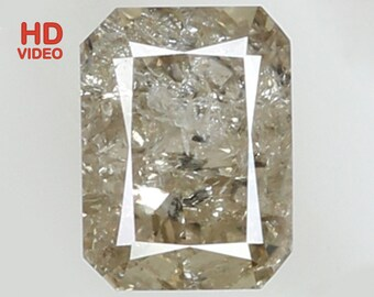 Natural Loose Diamond Emerald Yellow Grey Color I2 Clarity 5.60X4.20X2.80 MM 0.64 Ct N6359