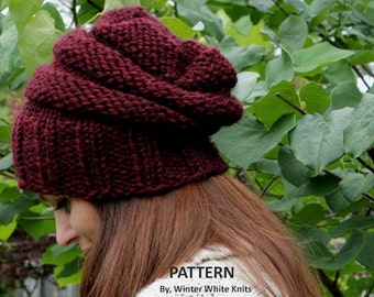 Knitting pattern, knit hat pattern, PDF Instant Download Knitting Pattern, slouchy knit hat, knit in many colors, knitting pattern 0038