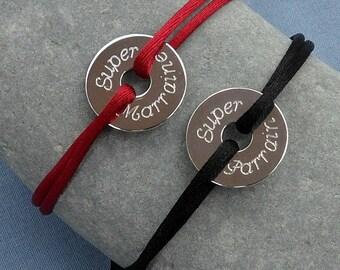 Custom engraved token, silver or gold plated disc cord bracelet