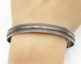 925 sterling silver - vintage twisted borders cuff bracelet - b1285