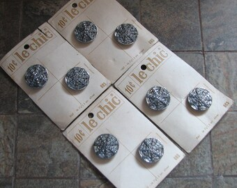 8 Vintage Metal Le Chic Silver Buttons on Cards