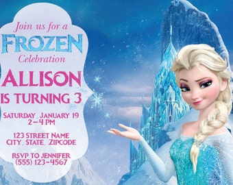 Frozen Theme Birthday Invitation with Elsa