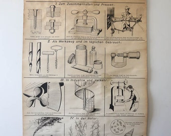 Original SCIENTIFIC TECHNICAL Vintage German School Wall Chart WALLCHART Screw Black and White Mechanical Rare Educational