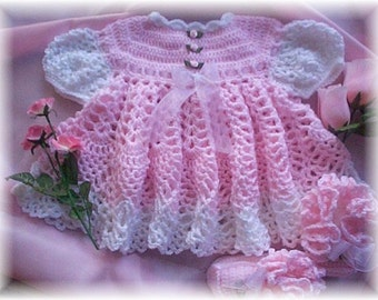 Crochet Pattern for Baby Dress ........for Pink Rose Baby Dress and Booties