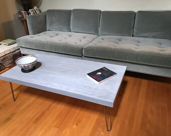 Beautiful Cerused Oak Coffee Table with Hairpin Legs - mid century modern - silver - blue
