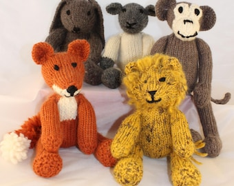 Toys mice knitting pattern knit christmas toy pattern knitted animal knitting patterns us for rebecca rabbit freddie fox leonard lion mischief monkey and lucy lamb knit all 5 loveable animals dt1010fo