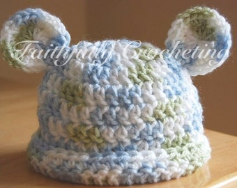 Ready to Ship... Newborn Bear hat... Baby green, Blue, and white... Photography prop