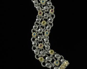 Three Row Laurel Leaf Bracelet, Engraved Collection                2250SGMDXXB