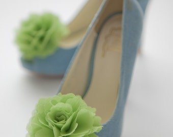Lime green-Set of 2,Chiffon flower shoe clips for bridal wedding-Choose your Color