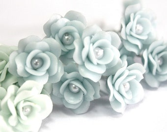 Miniature Roses Handcrafted Clay with Pearl bead, 12 pcs., Very Light Blue