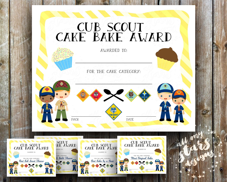 Cub Scout Cake Bake Award Certificate Pack 8.5x11 JPG