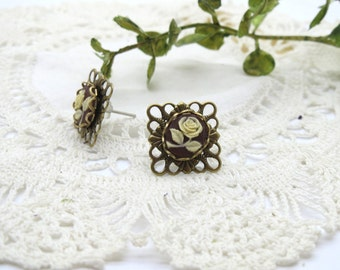 Antique Brass Filigree Floral Cameo Stud Earring in Sepia Portrait Rose