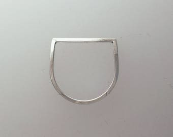 Sterling Silver Angular Ring with Square Profile