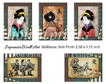 Dollhouse Wall Prints, Dollhouse Wall Art, Dollhouse Supply, Dollhouse DIY, Doll House Printable, Doll House Japanese Wall Art Prints