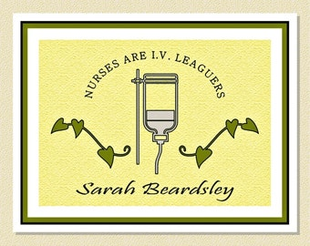 So Cute For The Nurse - I.V. League Note Cards - Personalized (10 Folded)
