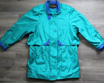 Vintage 80s Forecaster of Boston Spring Jacket, Teal, Women's Medium