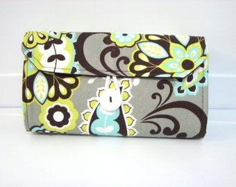 Cash Envelope Budget Wallet Dave Ramsey System Cash Wallet Systme / Zipper Envelopes - Lime Floral