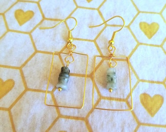 Jade and gold wire rectangular drop earrings