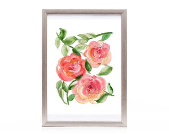 floral pattern watercolor artwork, roses wall art, pink art print from original watercolor art affordable gift ideas for mom, mother's day