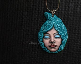 Water Goddess, water element zodiac pendant: handpainted sculpture charm, unique birthday gift for Scorpio, Cancer or Pisces zodiac signs!
