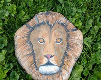 Original acrylic painting on rock, Why you always Lion by Darian