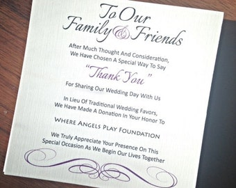 Wedding Favor Donation Card - In Lieu of Favors