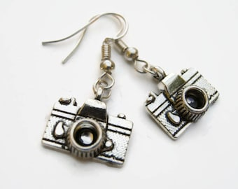 Camera Earrings, Photographer Earrings, Photography Earrings, Personalized Birthstone Jewelry, Photo Gift Jewelry,  Camera Lens Charm