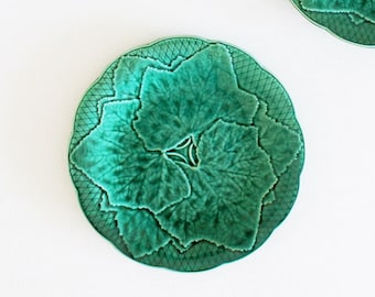 Green Majolica Plates by Gien, Antique Majolica Grape Leaf Plates, French Majolica Pottery, Green Plates, Decorative Plates Ceramic D103