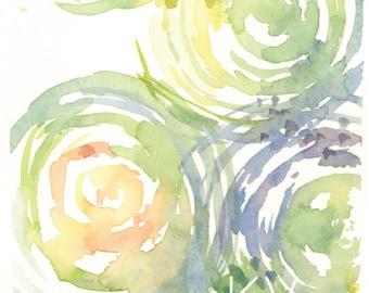 Abstract Circles - Greens and Yellows