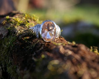 Morganite ring size 8 US 57, stone of humility and forgiveness