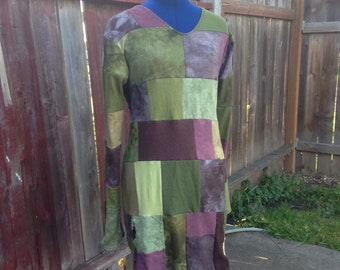 Large hemp organic cotton bamboo scrap dress