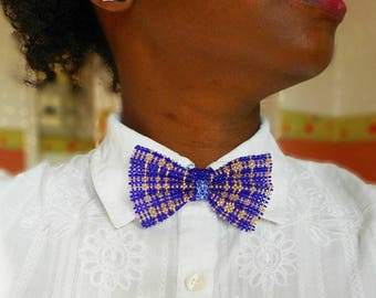 Feminine bow tie, jewelry accessory, woven with seed beads, customizable