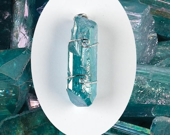 One Aqua Aura Danburite Wire Wrap Pendant! All w/Metaphysical Configurations! .925 Sterling Silver! Attracts Angels! Aids Channeling!