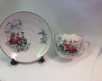 Kitsch Ridgway Potteries Ltd Cup and Saucer from 1962.  Made in England.  Vintage Car with Comical Transfers